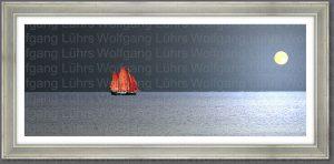 Wolfgang Lührs Rotes Segelschiff und Mond