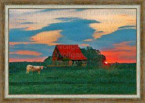 Wolfgang Lührs Landidylle mit Haus unter rotem Himmel
